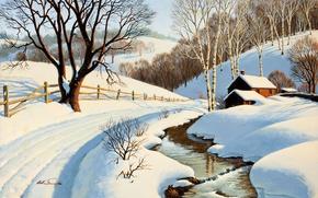 Picture winter, road, trees, house, river, stream, birch, painting, Arthur Saron Sarnoff, Winter Blanket
