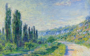 Wallpaper landscape, picture, Claude Monet, The road from Vétheuil