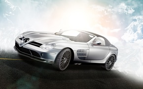 Picture clouds, McLaren, Roadster, Mercedes-Benz, SLR, R199, silvery, by D4D4L, 722 S