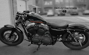 Picture Harley-Davidson, black and white, crack, forty-eight, crevice