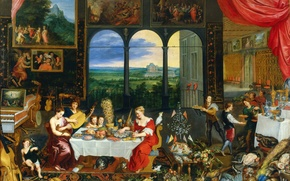 Picture picture, genre, Jan Brueghel the elder, The Five Senses. Taste. Hearing and Touch