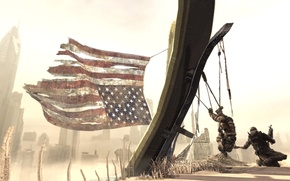 Picture sand, soldiers, American flag, Spec Ops:The Line