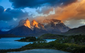 Picture the sky, clouds, light, mountains, lake, Chile, Andes, South America, Patagonia