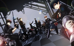 Picture weapons, motorcycle, guys, ao no exorcist, blue exorcist, okumura rin