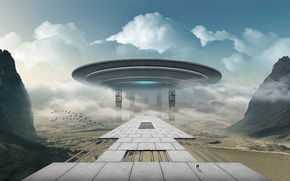Picture spaceship, road, fiction, people, landscape, spaceship