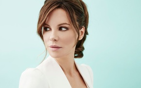 Picture background, model, portrait, makeup, actress, brunette, hairstyle, photographer, Kate Beckinsale, Kate Beckinsale, in white, Maarten …