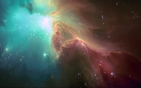 Picture space, stars, light, nebula, art, HellsEscapeArtist, TylerCreatesWorlds