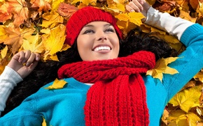 Picture autumn, leaves, Girls, woman, smile, autumn, leaves