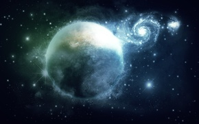 Picture space, planet, art, galaxy