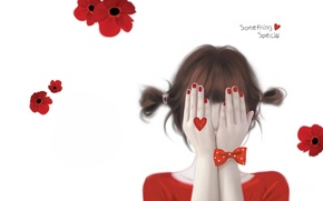 Picture girl, flowers, hide and seek, bow, heart, marigolds, Enakei