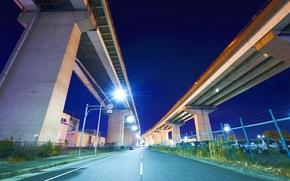 Picture road, machine, night, Japan, lights, bridges, japan, Nagoya
