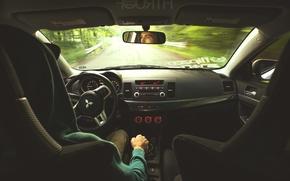Picture road, devices, Mitsubishi, salon, evolution, evo X