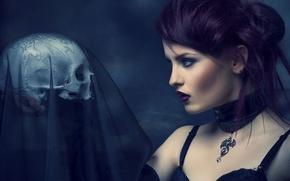 Wallpaper sake, veil, sorrow, purple, mistery, dragon girl