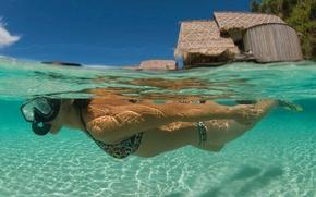 Picture girl, ocean, bora-bora, snorkelling