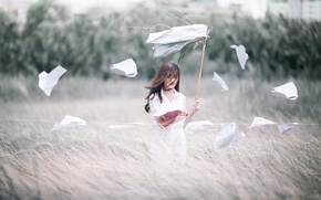 Picture field, girl, the wind