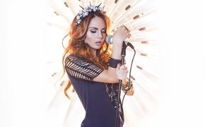 Wallpaper style, Maksim, Marina Maksimova, red, microphone, redhead, singer, sweetheart, hair, beautiful, girl