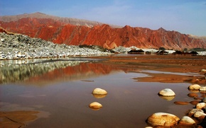 Picture the sky, mountains, lake, stones, Pamir