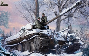 Picture winter, forest, snow, trees, figure, art, Panther, tank, German, average, World of Tanks, Nikita Bolyakov, ...