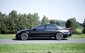 Picture black, Mercedes-Benz, Matt, side, Mercedes, Black, Mansory, S-Class, W222, 2015