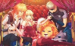Picture decoration, sofa, wolf, Leo, curtains, headband, visual novel, alfred, beast master and prince, tiana, matheus, …