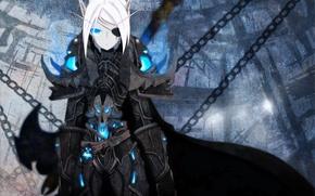 Picture girl, elf, chain, armor, blue eyes, cloak, white hair, short hair, world of warcraft, eye …