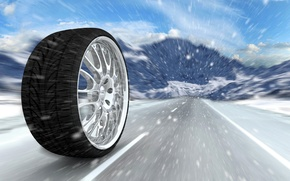 Picture mountains, abstraction, markup, winter, wheel, art, disk, snowfall, rolls, wheel, bus, wallpaper., the road, cast, …