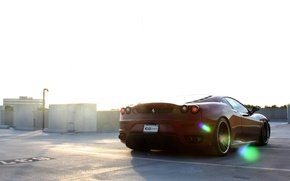 Picture Parking, red, ferrari, Ferrari, Blik, rear view, f430, parking, F430, dark red