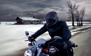 Picture the sky, house, speed, motorcycle, biker