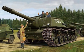 Picture figure, the second world, SAU, The red army, self-propelled artillery, Soviet, SU-152, assault gun, heavy