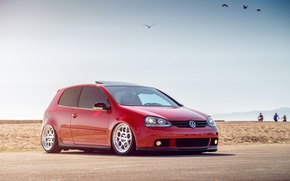 Picture volkswagen, red, golf, gti, MK5