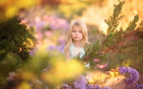 Picture girl, bokeh, Glimpse of Spring, nature