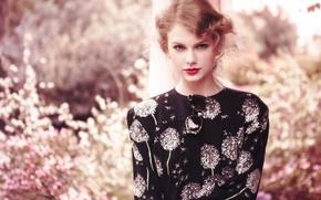 Wallpaper flowers, Teen Vogue, garden, actress, singer, Daniel Jackson, hairstyle, bokeh, makeup, Taylor Swift, glasses, photoshoot, ...