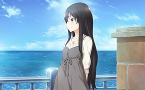 Picture sea, girl, clouds, smile, railings, does of or kozue wa takashi