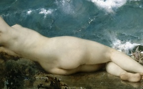 Wallpaper sea, erotic, stones, shore, picture, Pearls and Wave, Paul Beaudry