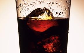 Wallpaper coca-cola, Glass, drink, soda, ice, drops