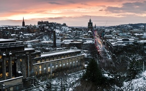 Picture road, street, home, the evening, Scotland, the hotel, capital, Scotland, Edinburgh, Edinburgh