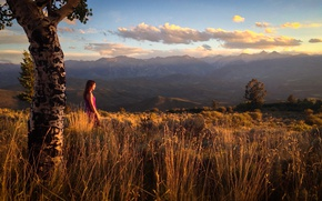 Picture girl, mountains, nature, sunset from the top