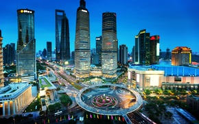 Picture lights, road, home, skyscrapers, the evening, China, Shanghai, megapolis, street