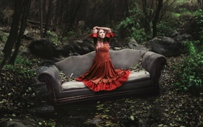 Picture forest, leaves, blonde, forest, red dress, couch, leaves, blonde, couch, red dress