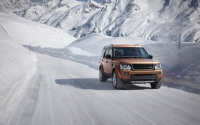 Picture winter, snow, mountains, movement, speed, track, Land Rover, Discovery, 2015, Landmark