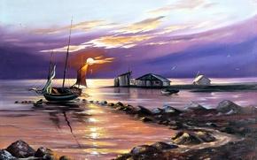 Picture sea, water, landscape, sunset, Wallpaper, shore, boat, figure, seagulls, art, sail, painting