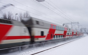 Wallpaper winter, the fence, train, speed