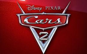 Wallpaper cartoon, pixar, emblem, chrome, disney, cars 2, cars 2, red mother of pearl