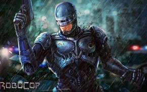 Picture gun, fiction, robot, art, helmet, armor, Robocop, RoboCop, Alex Murphy