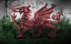 Picture paint, Dragon, flag, Wales, Wales, Wales