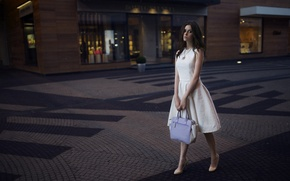 Wallpaper Pushman, brunette, street, Julia Pushman, beautiful, Julia, girl, shoes, bag