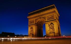 Picture France, Paris at night, Arc De Triomphe