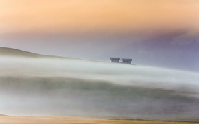 Picture landscape, fog, morning, houses, Italy, Dolomites, Alpe di Siussi