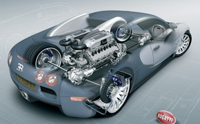 Wallpaper scheme, drawing, engine, Bugatti, Veyron