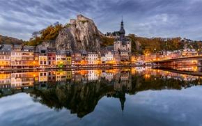 Wallpaper reflection, mountains, Belgium, Namur, NAMUR, the river Maas, River Meuse, promenade, Dinan, building, river, Dinant, ...